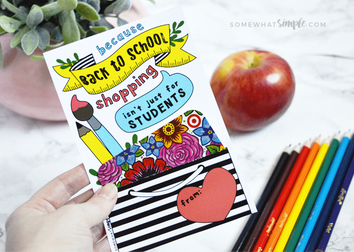 teacher gift card printable - a back to school gift