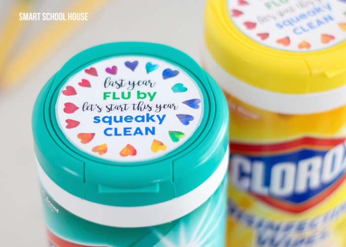 clorox wipes with gift tag for the teacher