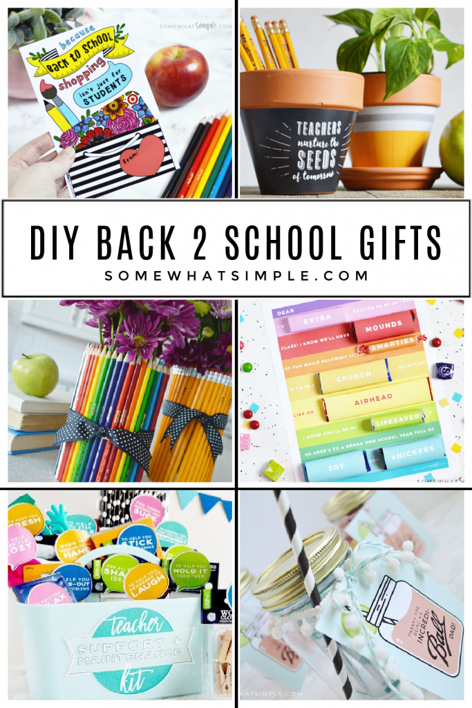 collage of back to school gift ideas for the teacher