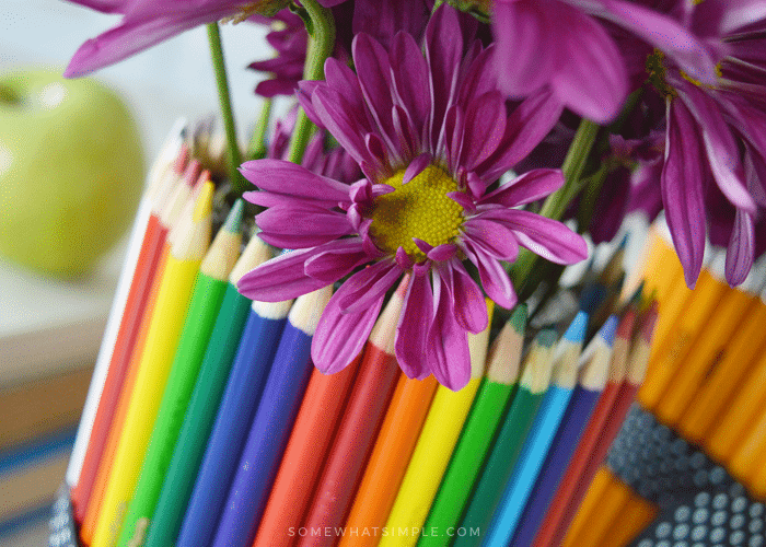 close up of flower vase wrapped in colored pencils