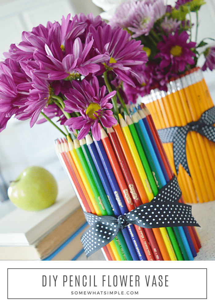long image of flower vases wrapped in pencils