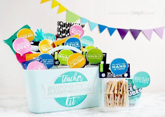 bucket of school supplies for a teachers gift