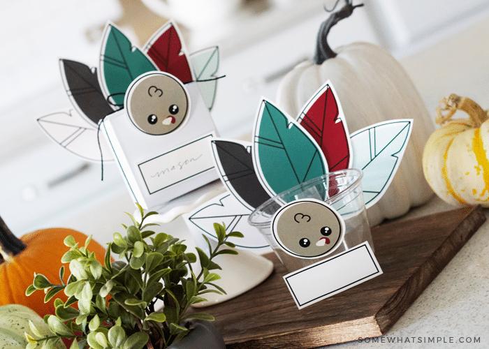 diy fall thanksgiving turkey favor gift box place setting free printable