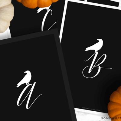 monogram crow printable for halloween