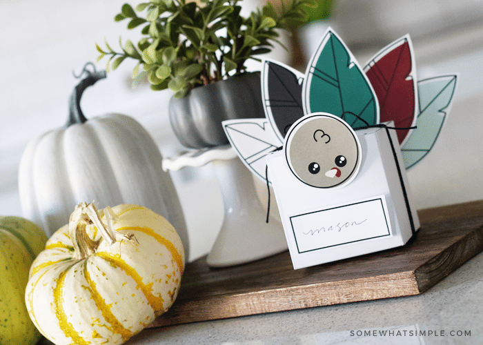 make your own fall thanksgiving turkey favor box place setting free printable