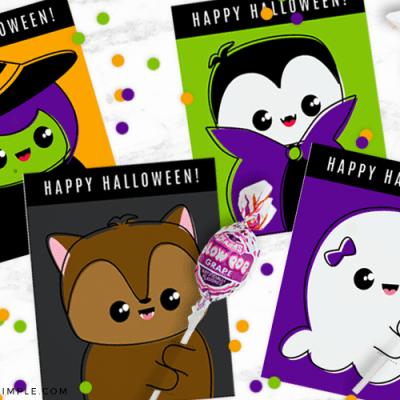 Halloween Lollipops Printable Cards