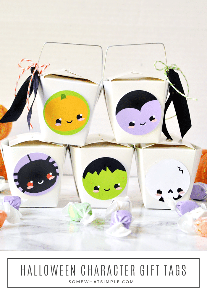 five halloween gifts with spooky characters on the side from this free printable