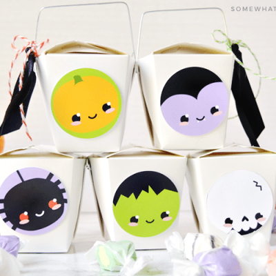 halloween gift boxes made from chinese take out boxes with cute monster faces