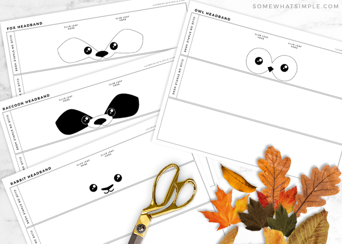 supplies needed to make an animal headband leaf craft
