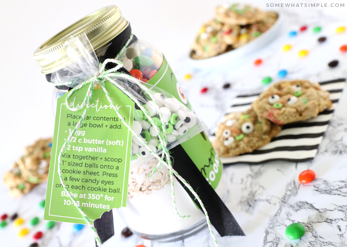 Recipe tag with a cookie recipe attached to a mason jar