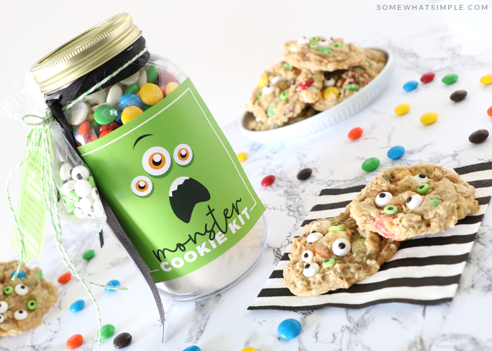 jar with cookie mix and a monster face printable