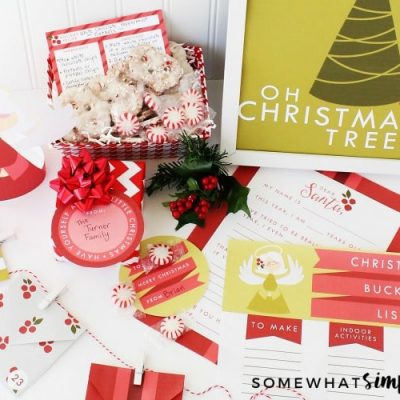 christmas printables laid out on a counter