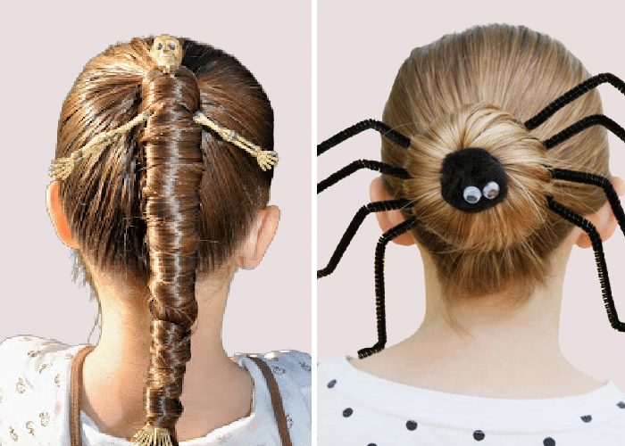 two girls with their hair done for Halloween. One with a skeleton wrapped around her hair and the other with a bun and black pipe cleaners to look like spider legs