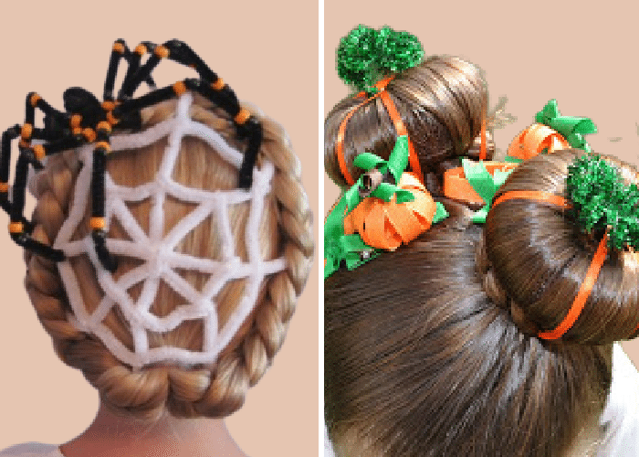 two girls with ribbons and pipe cleaners in their hair to look like a spider web and a pumpkin