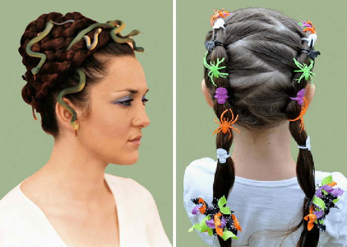 two girls with plastic bugs ans snakes in their hair