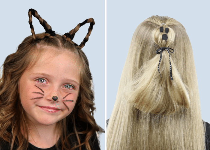 two girls with halloween hairdos - 1 with cat ears made out of braids, and another with her hair tied up to look like a ghost