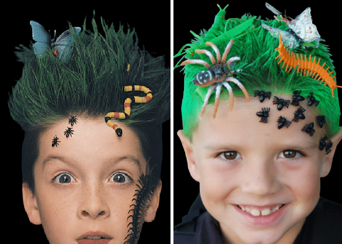two boys with hair sprayed green and plastic bugs secured around their face and in their hair