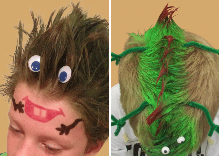 two boys with crazy hair - one that looks like a monster face, and the other that looks like a lizzard
