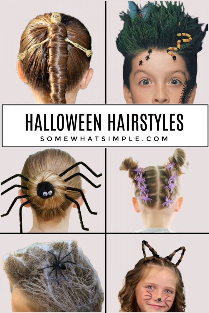 a collage of 6 kids with different halloween hairstyles