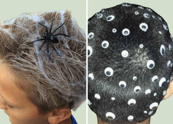 two boys with halloween hair - one with spider web stuck all around it, and another with googly eyes in different sizes all around his hair.