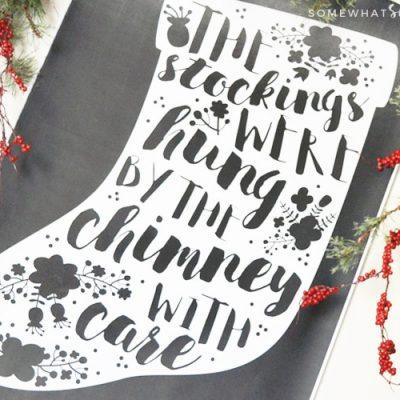big white stocking on black background