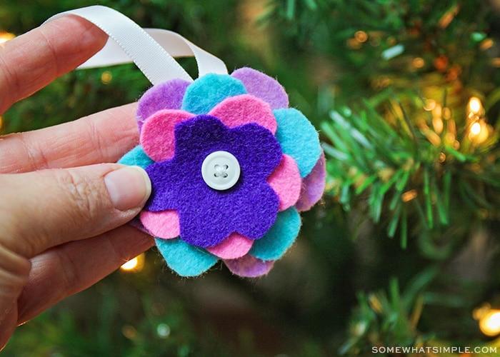 a brightly colored DIY felt Christmas ornament