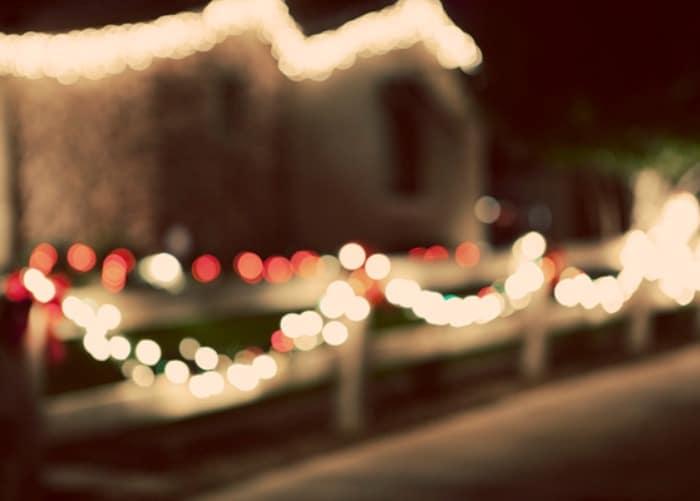 Bokeh effect on Christmas Lights outside