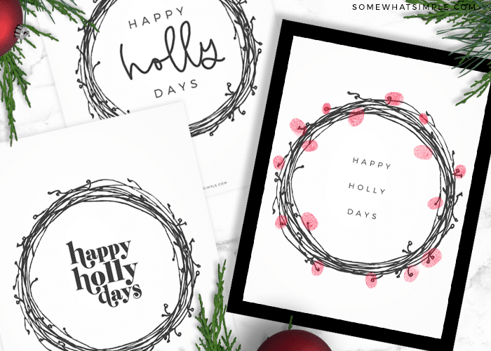 3 variations of holiday wreaths on white paper