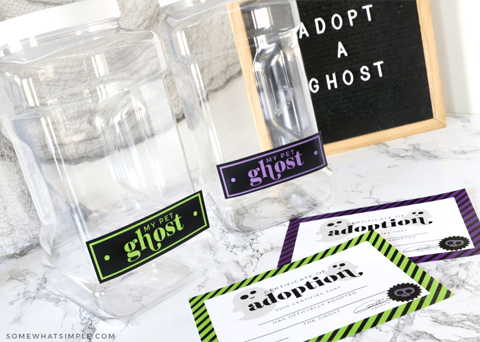 """clear containers with the words """"pet ghost"""" attached to them"""