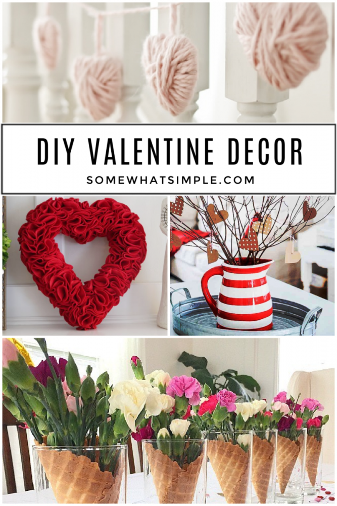 collage of DIY valentine decor projects
