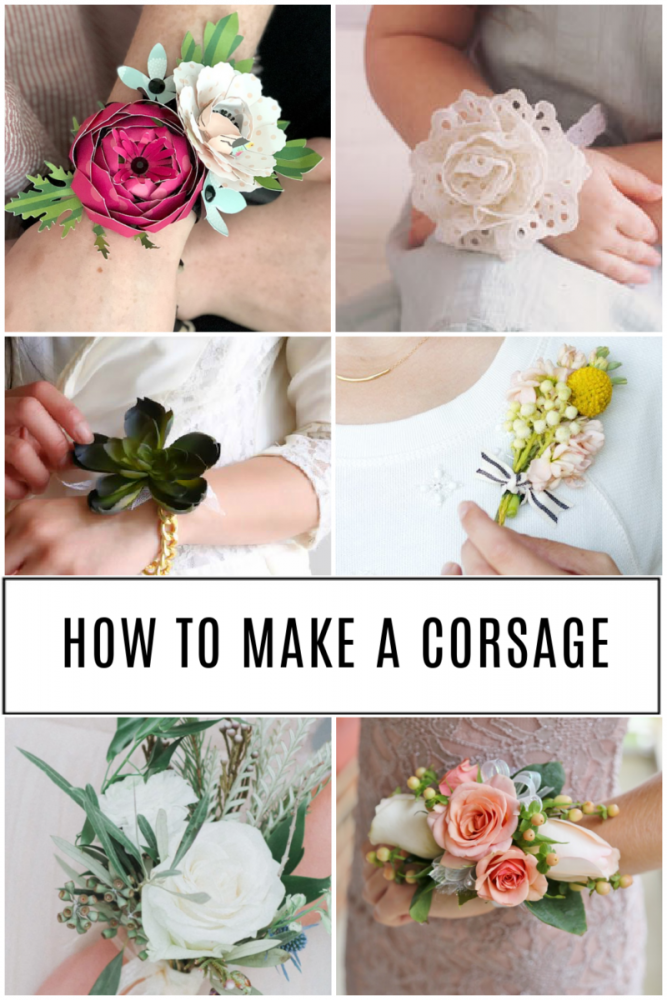 a collage of 6 different corsage tutorials