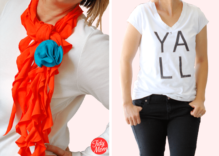 """a woman wearing a white shirt with an orange scarf and a woman wearing a white shirt with black letters that says, """"Y'all"""" on the front"""