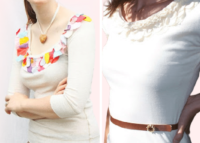 2 shirts, side by side with ruffles around the collar