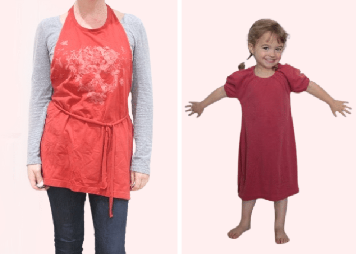 a tshirt made into an apron and a t shirt made into a child's nightgown