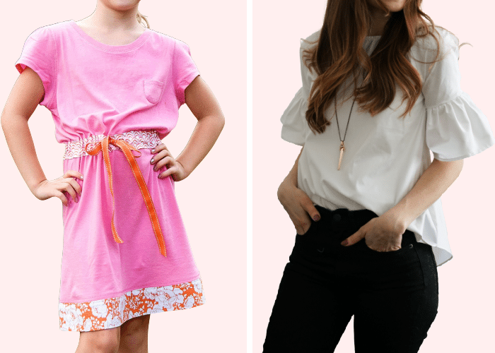 a tshirt made into a summer dress and a t shirt made into a ruffle sleeve shirt