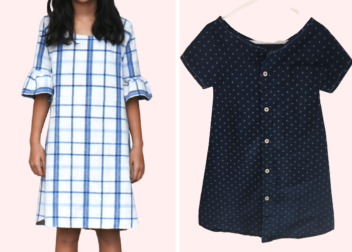 2 mens shirts made into two dresses for little girls