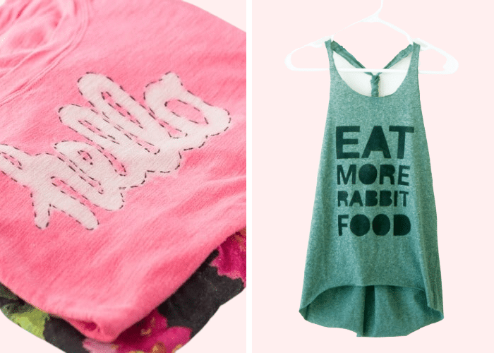 """a pink shirt with the word """"hello"""" on it and a green tank top with the phrase """"eat more rabbit food"""" on it"""