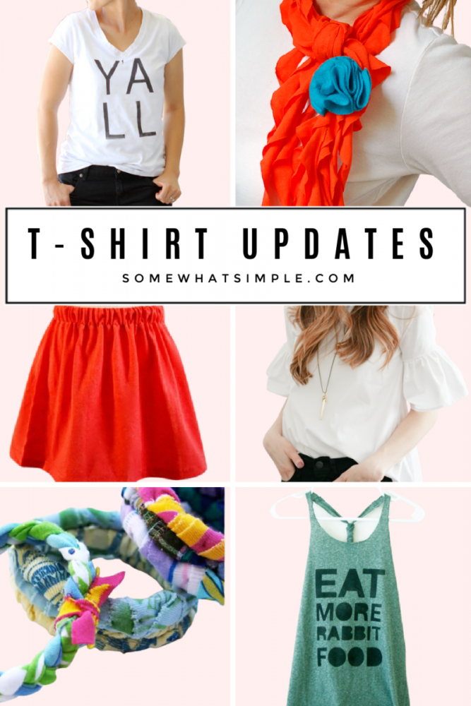 a collage of tshirt refashion tutorials and things you can make from an old tshirt