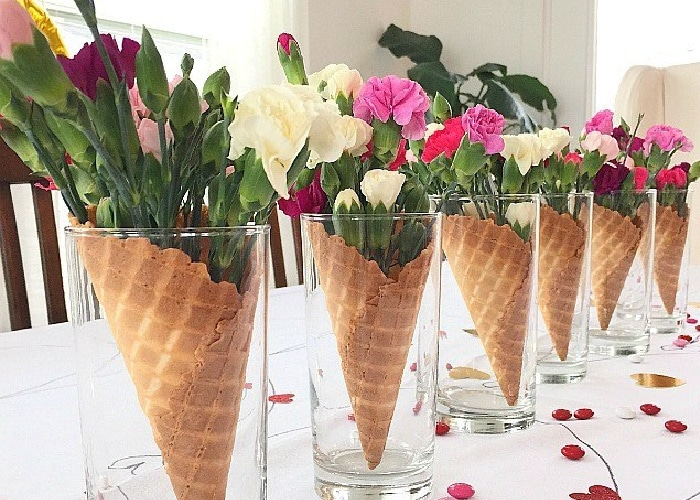 valentine table decor - flowers in waffle ice cream cones