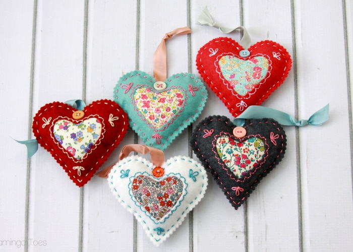 felt and fabric hearts laying on a counter