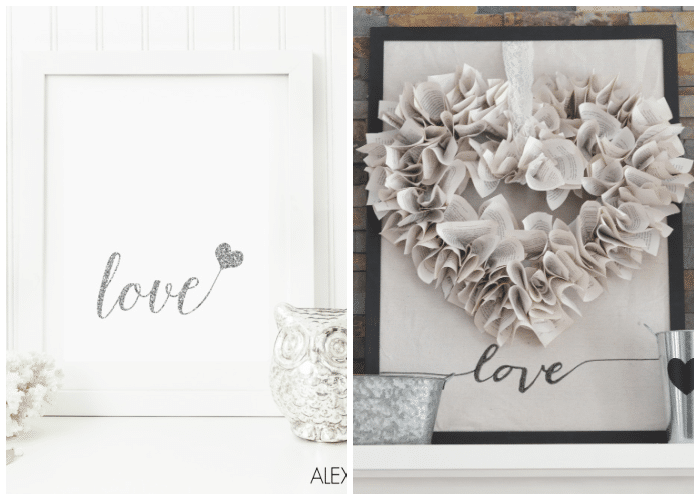 two framed valentines prints in black and white