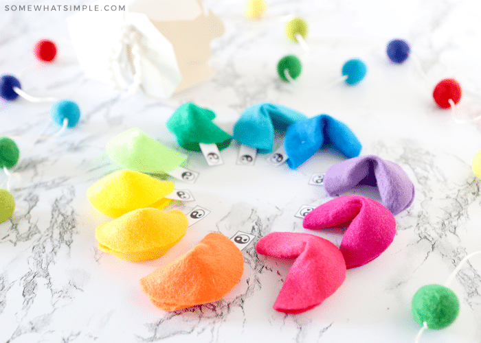 circle of rainbow felt fortune cookies
