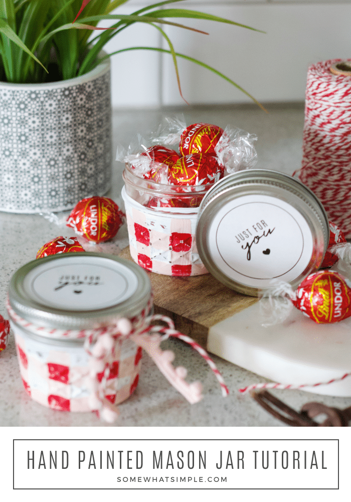 painted jelly jars on the counter filled with chocolate