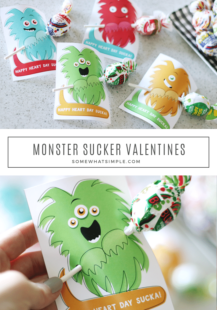 Free printable Valentine's Day Cards with a Monster holding a sucker. Perfect for boys!