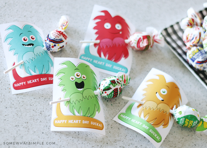simple printable valentine cards you can make from home with monsters and suckers
