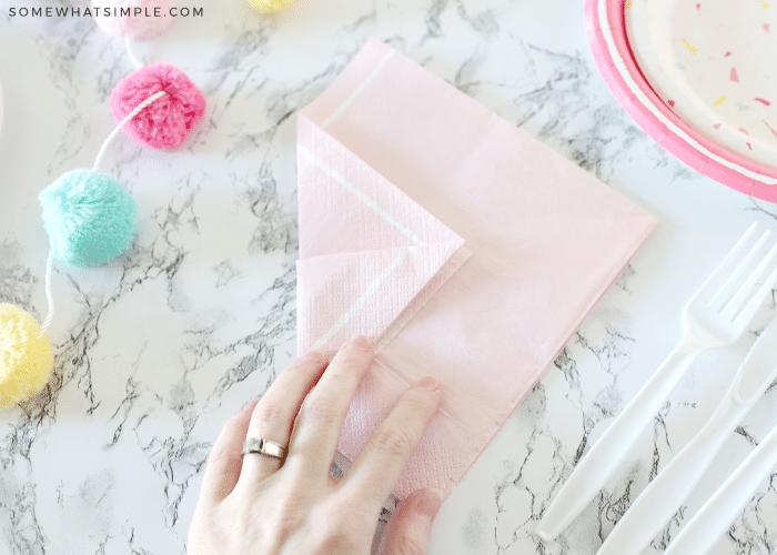folded pink napkin