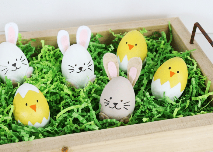 easter eggs decorated like bunnies and chicks