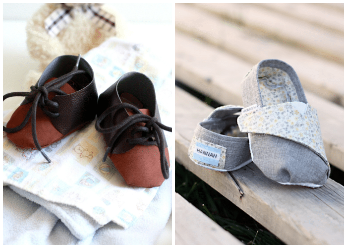 side by side collage of leather baby shoes and toms tennis shoes