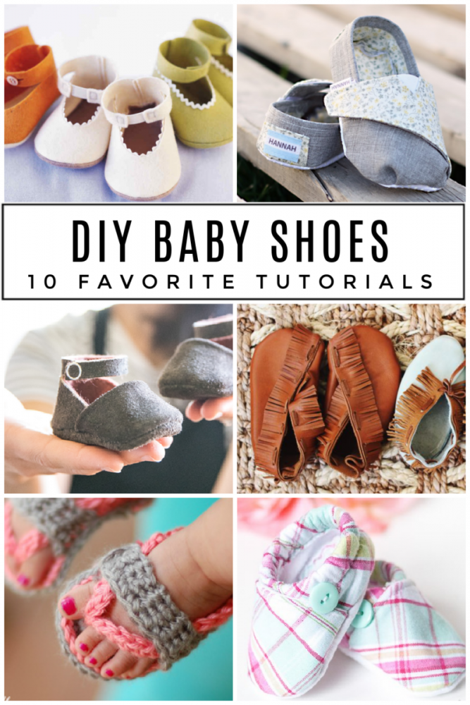 collage of various DIY Baby Shoe tutorials