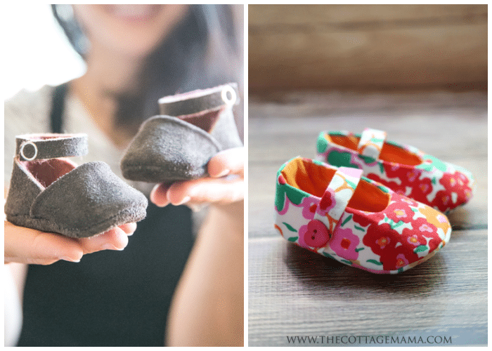two pictures of DIY baby booties
